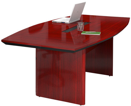 Mayline Corsica Wood Veneer 8' Boat-Shaped Conference Table with Sierra Cherry Finish