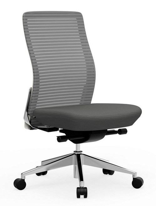 Eon Mid-Back Task with white frame with grey mesh, Coal seat, armless