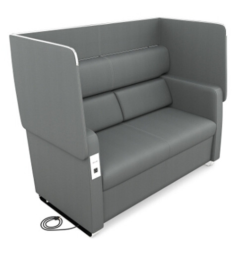 Morph Series Privacy Sofa, Slate Vinyl