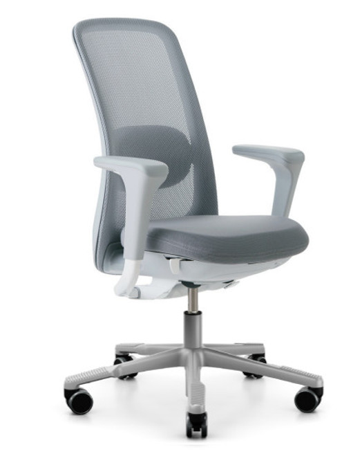 HAG SoFi Mesh Quickship Tasker quickship with light grey mesh, light grey seat and silver base