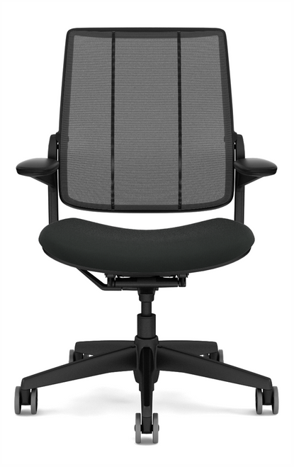 Humanscale Diffrient Quick Ship Smart Chair in Corde4 Black Seat and Black Monofilament Back
