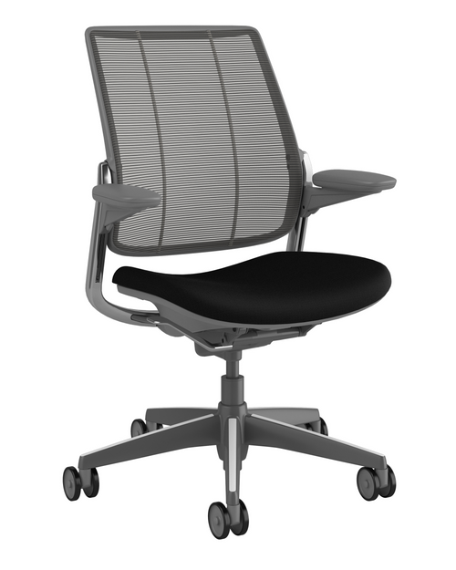 Humanscale Diffrient Quick Ship Smart Chair in Corde4 Black Seat and Black Monofilament Back, Dark Grey Frame with Polished Aluminum Trim