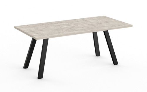 Aim XL 6' Conference Table with Black base and White Driftwood HPL