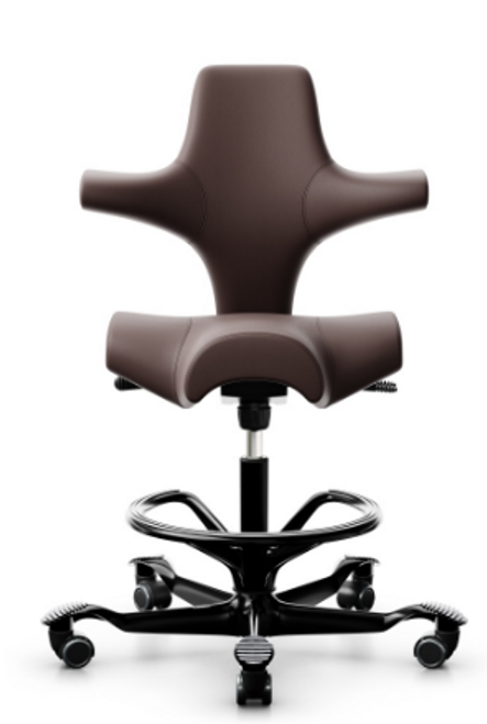 HAG Capisco Ergonomic Ultrasound Chair, Maroon Paloma leather, black base and footring
