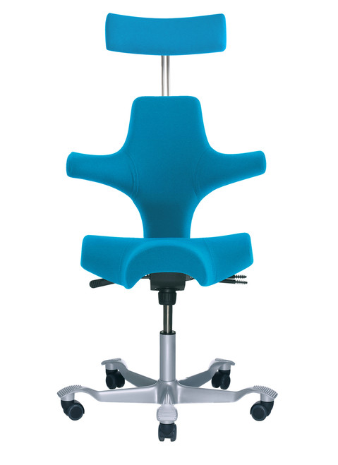 HAG Capisco H8107 Blue Seat Silver Base Adjustable Headrest