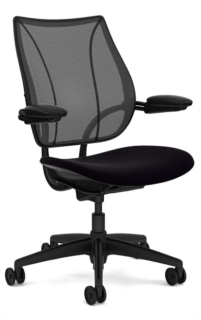 Humanscale Liberty Quick Ship Task Chair in Corde4 Black Seat, Black Mesh Monofilament Back