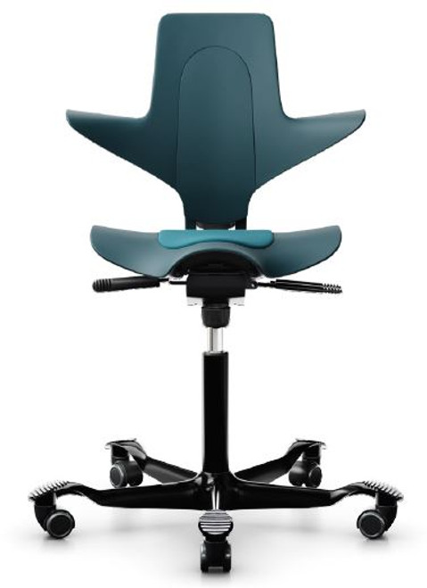 HAG Capisco Quickship Puls Saddle Chair with Seat Pad, Petroleum plastic back and SRT042 seat pad, black base