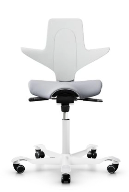 HAG Capisco Quickship Puls Saddle Chair with Shell in White, Upholstered Seat in Grey, White base