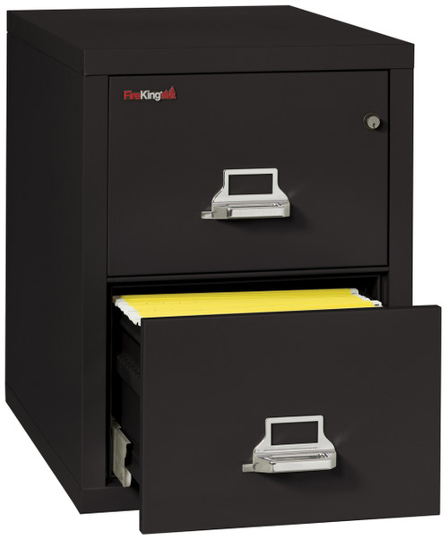 FireKing 2 Drawer Fireproof Vertical File Cabinet in Black