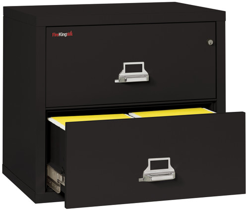 FireKing 2 Drawer Fireproof Lateral File Cabinet in Black, 31""