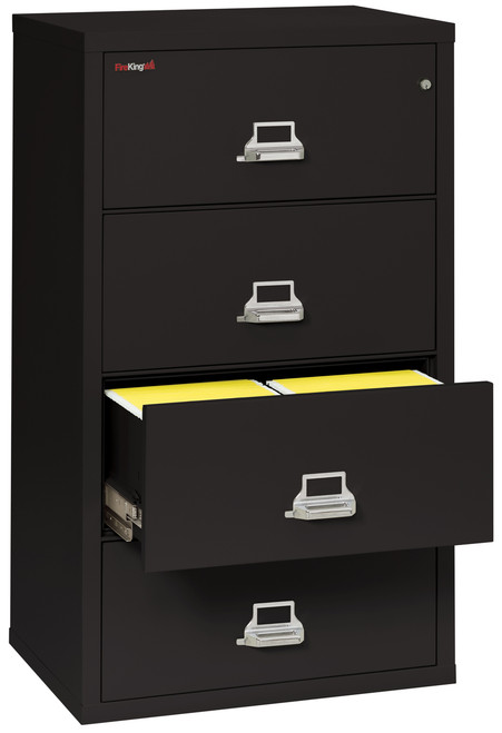 FireKing 4 Drawer Fireproof Lateral File Cabinet, black 31""