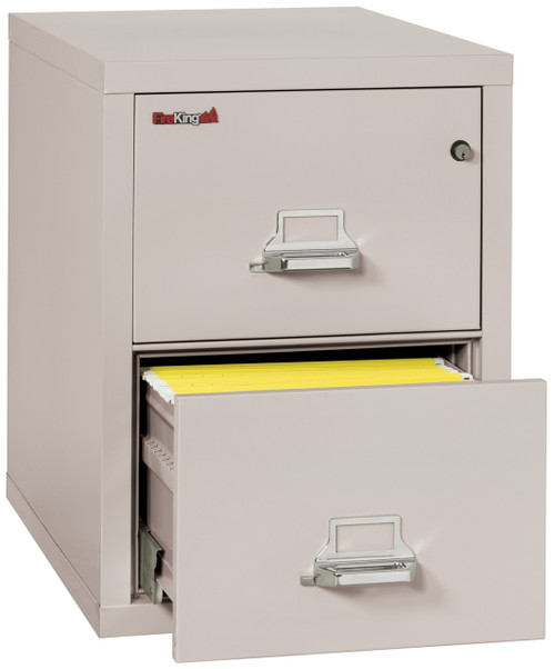 "FireKing 25"" 2 Drawer Fireproof Vertical File Cabinet in Platinum"