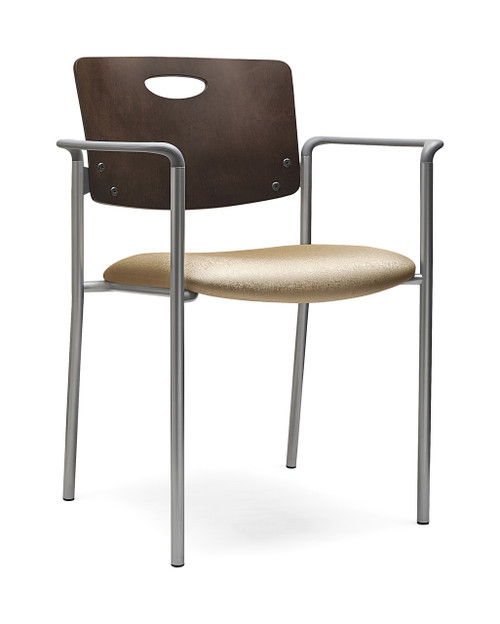 Accent Stacking Guest Chair with mahogany back, grey arms and silver frame