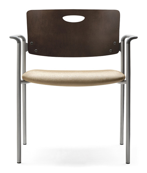 "Accent Stacking Guest Chair 22"" Seat with mahogany back, grey arms and silver frame"