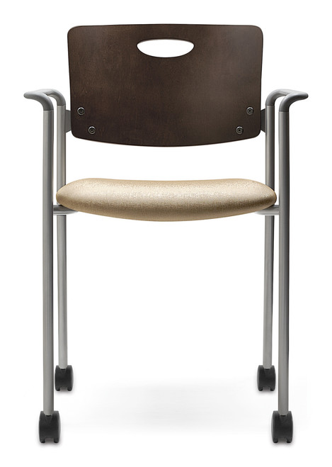 Accent Stacking Guest Chair with Casters - mahogany back, grey arms and silver frame
