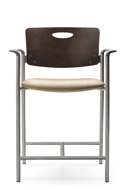 Accent Hip Chair with mahogany back, grey arms and silver frame