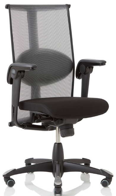 HAG Inspiration Quickship Medium Back Tasker with Leather Seat and Standard Black Base