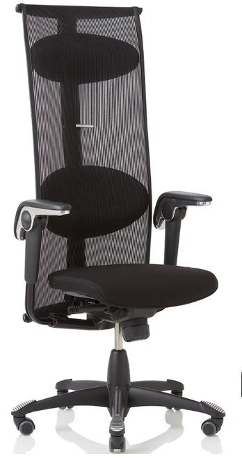 HAG Inspiration Quickship Medium Back Tasker with Leather Seat, Lumina fabric back and Standard Black Base