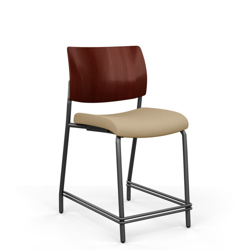 Focus Wood Back Stool, Counter Height, Black Frame, Amber Mahogany Solid Wood Back, armless