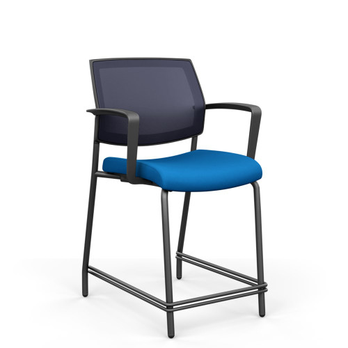 Focus Mesh Back Counter Height Stool, Navy Mesh, Black frame