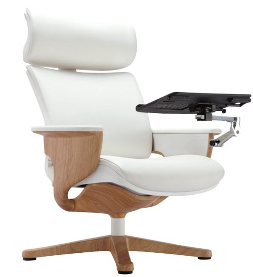 EuroTech Nuvem Leather Executive Chair with White Leather and Teak Wood Finish shown with laptop/tablet arm