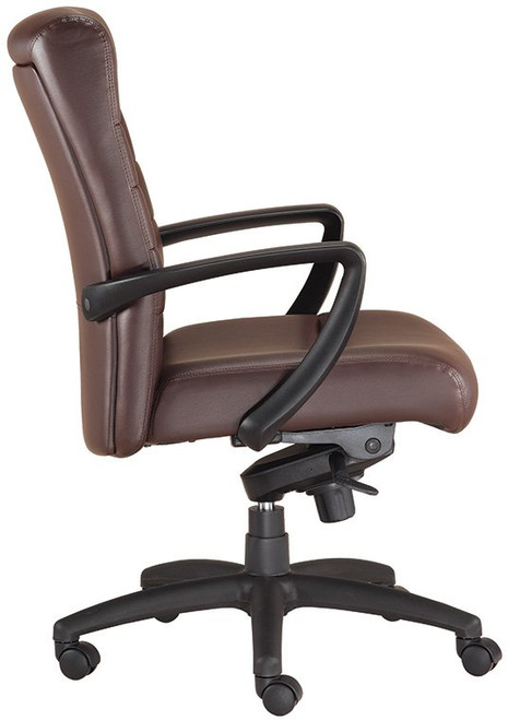 EuroTech Manchester Mid-Back Leather Executive Chair with brown leather