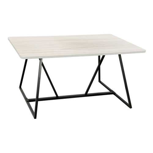 Oasis™ Sitting Height Teaming Table in Weathered White laminate