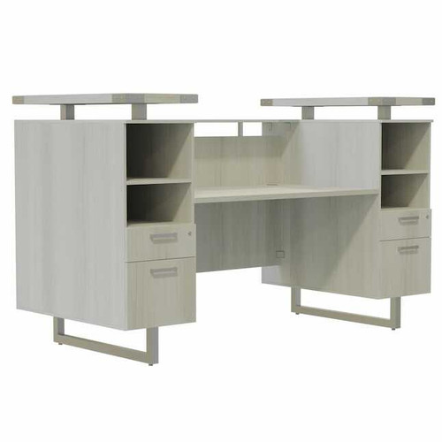 Mirella Laminate Reception Desk with White Ash laminate, Silver hardware and Frosted Glass