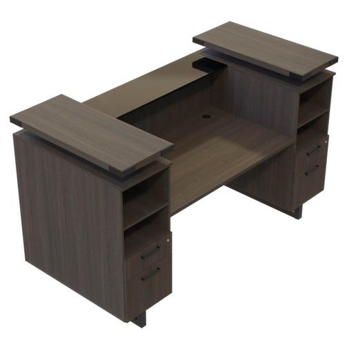 Mirella Laminate Reception Desk with Southern Tobacco laminate, Black hardware and Smoked Glass