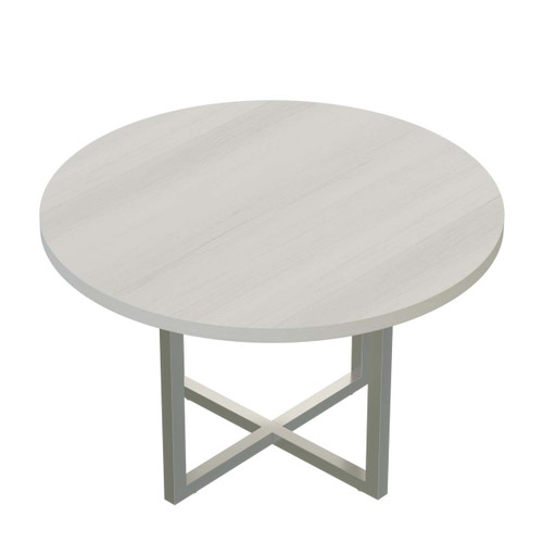 Mirella Round Laminate Conference Table with White Ash laminate, Silver hardware
