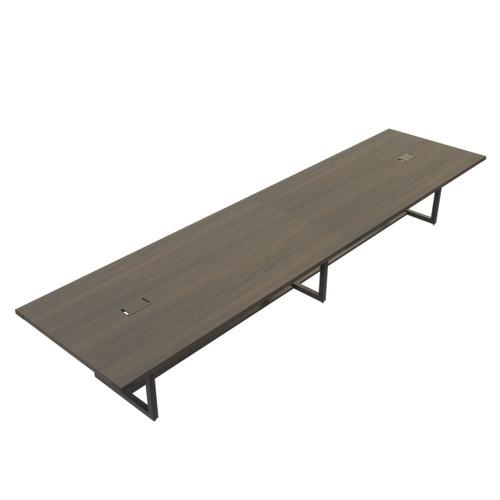 Mirella Rectangular 14' Sitting Height Laminate Conference Table in Southern Tobacco laminate, black base