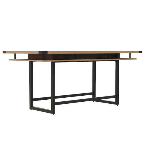Mirella Rectangular 8' Sitting Height Laminate Conference Table in Sand Dune laminate, black base