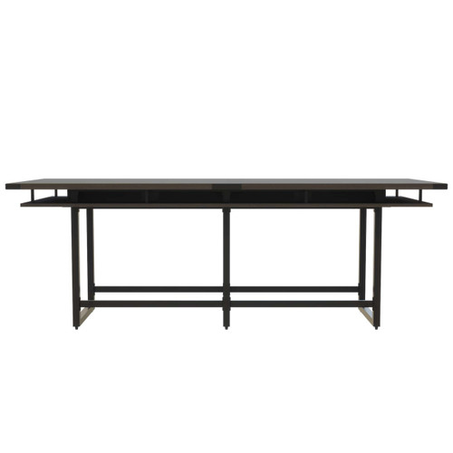 Mirella Rectangular 10' Sitting Height Laminate Conference Table in Southern Tobacco laminate, black base
