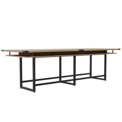 Mirella Rectangular 12' Sitting Height Laminate Conference Table in Sand Dune laminate, black base