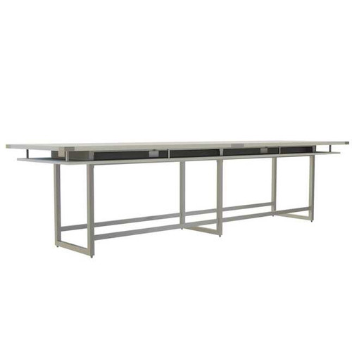 Mirella Rectangular 14' Sitting Height Laminate Conference Table in White Ash laminate, silver base