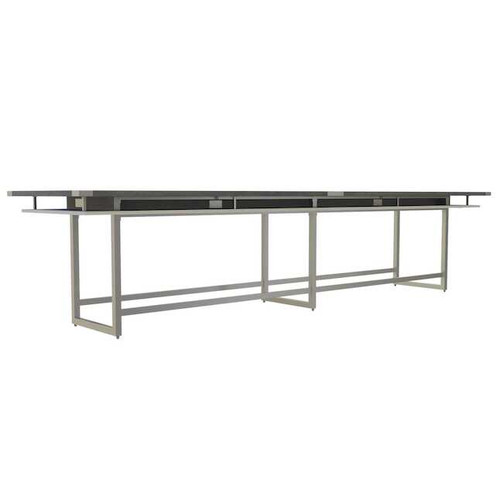 Mirella Rectangular 16' Sitting Height Laminate Conference Table in Stone Gray/White Ash laminate, silver base