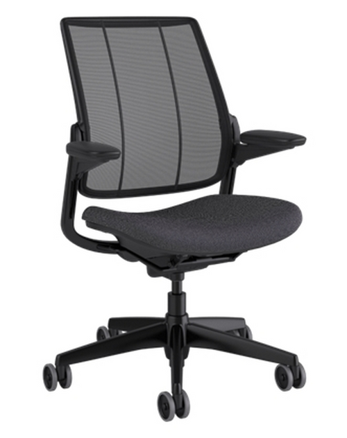 SmartOcean Chair, Adjustable Duron Arms with black frame and Fourtis Granite seat upholstery