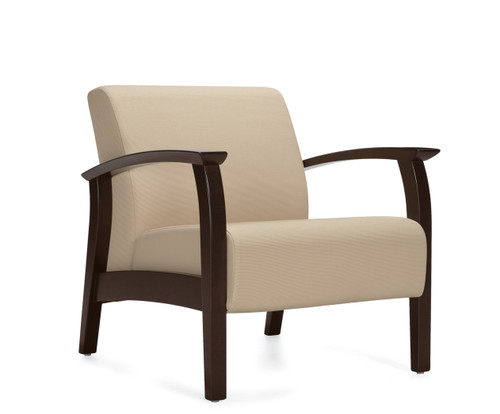 GlobalCare PrimaCare Bariatric Lounge with Wood Open Arm with Charcoal Java wood finish