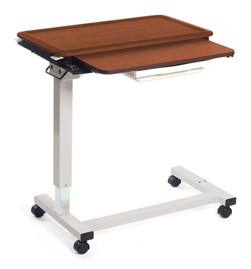 Split Top Overbed Healthcare Table with C-Base and optional vanity tray