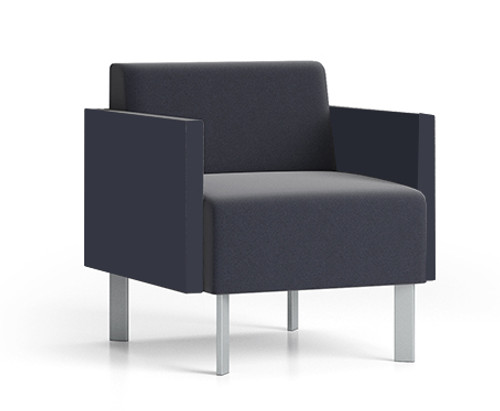 Luxe Heavy Duty Guest Chair with single upholstery and steel legs