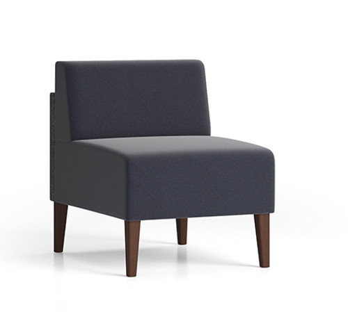 Luxe Heavy Duty Armless Guest Chair  with single fabric and wood legs
