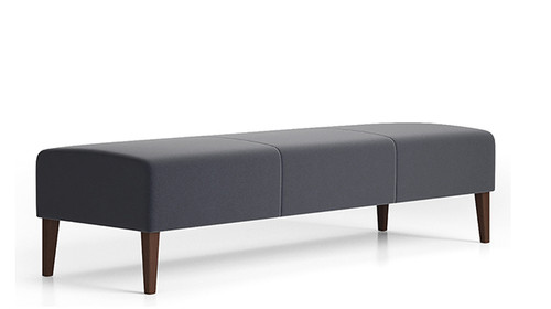 Lesro Luxe 3 Seat Bench with wood legs