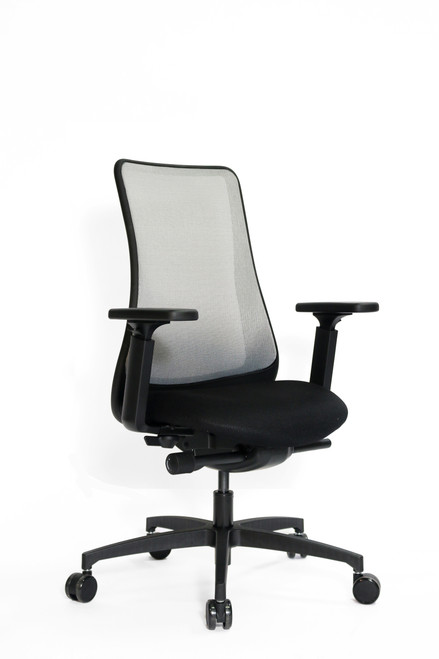 Genie Swivel Tilt Mesh Back with Black Frame, adjustable height arm and silver mesh back