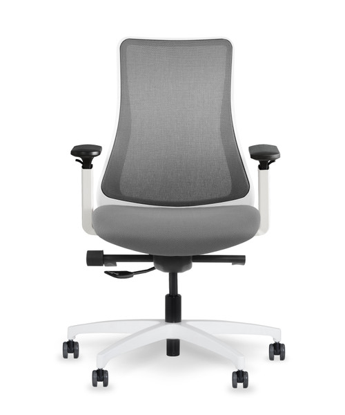 Genie Swivel Tilt Mesh Back with White Frame, adjustable height arm with 4-way pad and silver mesh back