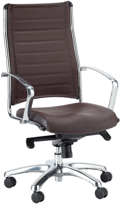 EuroTech Europa Leather High-Back Chair in brown leather