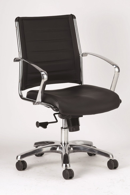Europa Leather Mid-Back Chair in white leather