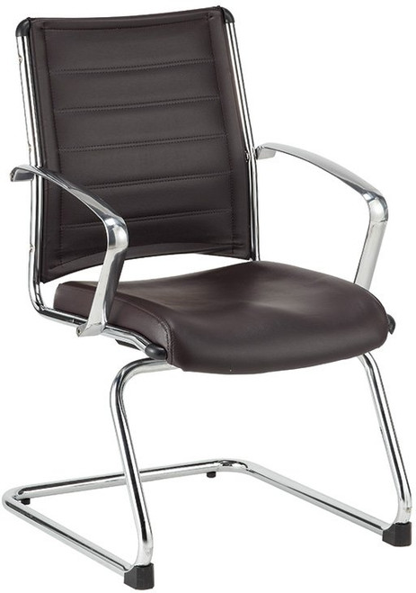EuroTech Europa Leather Polished Aluminum Guest Chair with brown leather