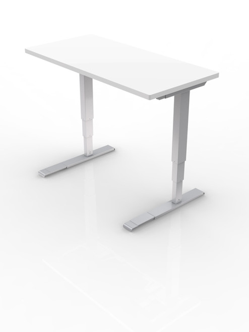 All-Flex Electric Height Adjusting Table with laminate top and silver base