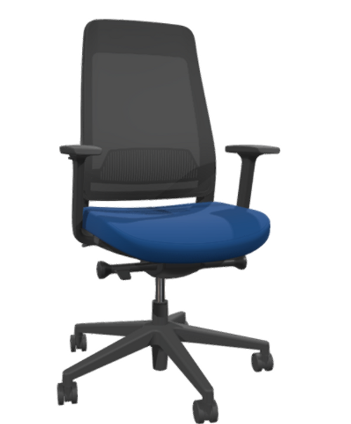 Siya Black Frame Task Chair with black frame, base, adjustable arms and casters