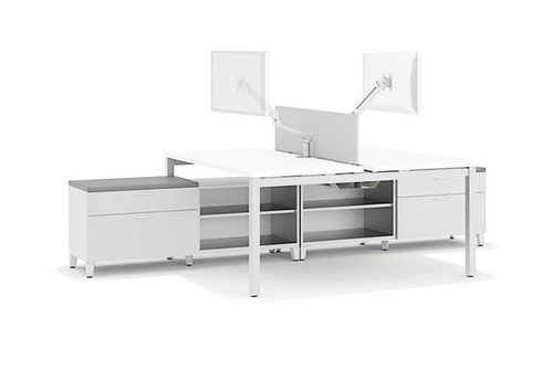 Deluxe Empower with White Frame and Laminate Tops, Platinum Fabric